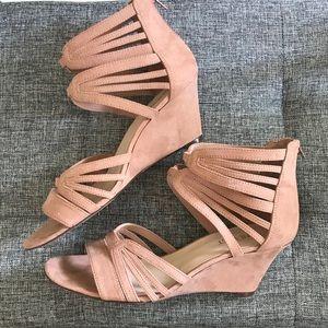 Strappy Wedge Heel Sandal Blush Suede